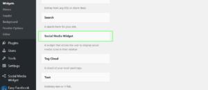 You will see social media widget