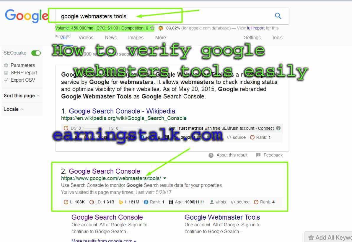 How can verify google webmasters Tools Easily