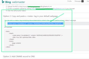 bing webmasters tools verificaton