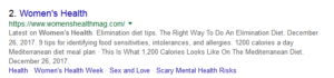 women Health search example on google
