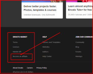 become an affilate with envato market place