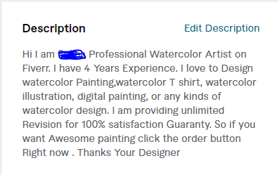 Profile description example for t shirt designer